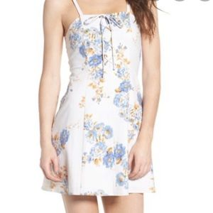 Wayf floral a line lace up neck mini dress